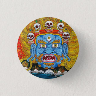 Cool oriental tibetan thangka demon tattoo art 1 inch round button