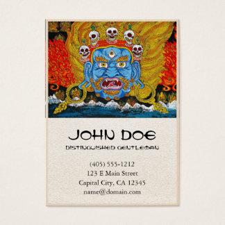 Cool oriental tibetan thangka demon tattoo art business card
