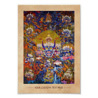 Cool oriental tibetan thangka god tattoo art poster