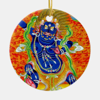 Cool oriental tibetan thangka god tattoo art round ceramic ornament