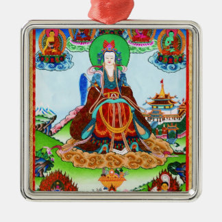 Cool oriental tibetan thangka Golden Mother Silver-Colored Square Ornament