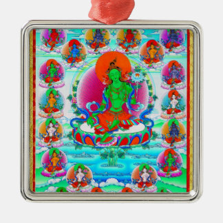 Cool oriental tibetan thangka Green Tara  tattoo Silver-Colored Square Ornament