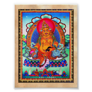 Cool oriental tibetan thangka Jambhala tattoo art Poster