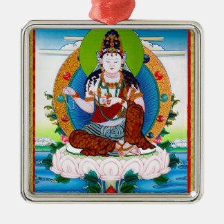 Cool oriental tibetan thangka Mahacakravajra Silver-Colored Square Ornament