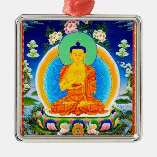 Cool oriental tibetan thangka Prabhutaratna Buddha Silver-Colored Square Ornament