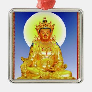 Cool oriental tibetan thangka Prithivi Earth God Silver-Colored Square Ornament