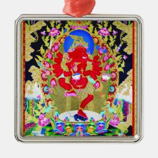 Cool oriental tibetan thangka Red Jambhala tattoo Silver-Colored Square Ornament