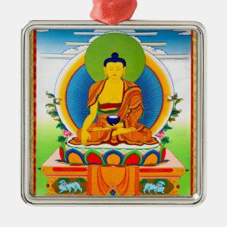Cool oriental tibetan thangka tattoo Aksobhya Silver-Colored Square Ornament
