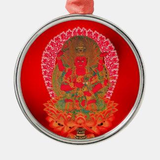 Cool oriental tibetan thangka tattoo art  Ragaraja Silver-Colored Round Ornament