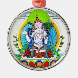 Cool oriental tibetan thangka tattoo Bhogavati Silver-Colored Round Ornament