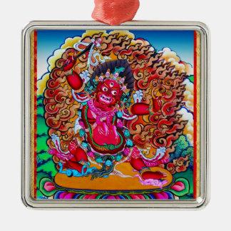 Cool oriental tibetan thangka tattoo Hayagriva Silver-Colored Square Ornament