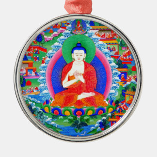 Cool oriental tibetan thangka tattoo Mahavairocana Silver-Colored Round Ornament