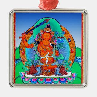 Cool oriental tibetan thangka tattoo Manjusri Silver-Colored Square Ornament