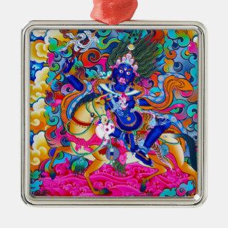 Cool oriental tibetan thangka tattoo Palden Lhamo Silver-Colored Square Ornament