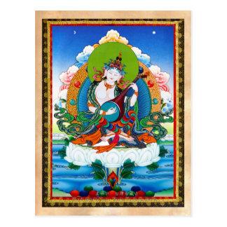 Cool oriental tibetan thangka tattoo Saraswati Postcard