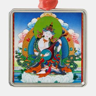 Cool oriental tibetan thangka tattoo Saraswati Silver-Colored Square Ornament