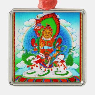 Cool oriental tibetan thangka tattoo Vaishravana Silver-Colored Square Ornament
