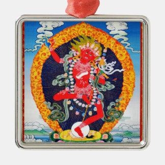 Cool oriental tibetan thangka tattoo Vajravarahi Silver-Colored Square Ornament