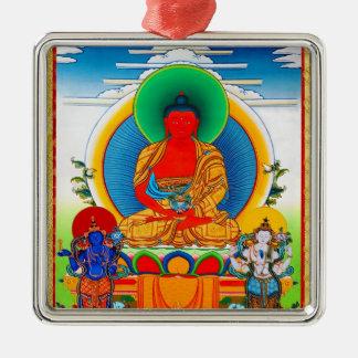 Cool oriental tibetan thangka Three Major Saints Silver-Colored Square Ornament