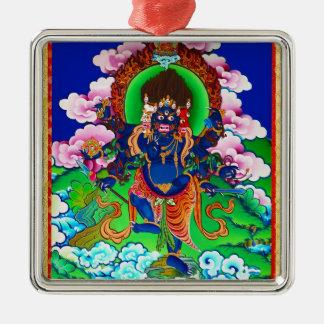 Cool oriental tibetan thangka Ucchusma tattoo Silver-Colored Square Ornament