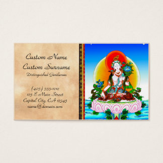 Cool oriental tibetan thangka White Tara tattoo Business Card