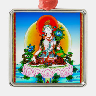 Cool oriental tibetan thangka White Tara tattoo Silver-Colored Square Ornament