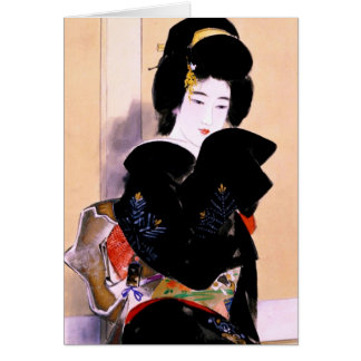 Cool oriental traditional japanese geisha lady art card