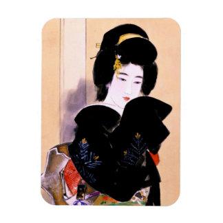Cool oriental traditional japanese geisha lady art magnet