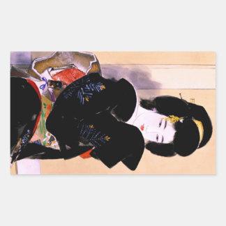Cool oriental traditional japanese geisha lady art sticker