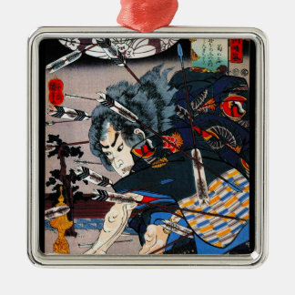 Cool oriental traditional japanese Samurai Warrior Metal Ornament