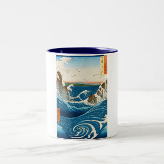 Cool oriental traditional japanese waterscape sea Two-Tone coffee mug