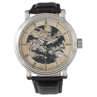 Cool oriental ukiyo-e mythical ink dragon painting wristwatches