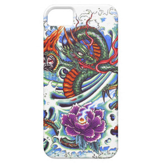 Cool Oriental Water Dragon Purple Lotus tattoo iPhone 5 Cover