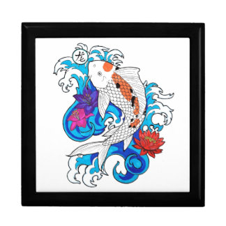 Cool Oriental White Koi Carp Fish Lotus Flowers Gift Box