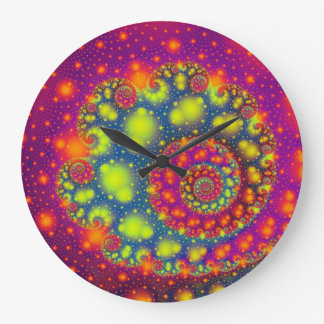 Cool Out Of This World Colorful Fractal Design Large Clock