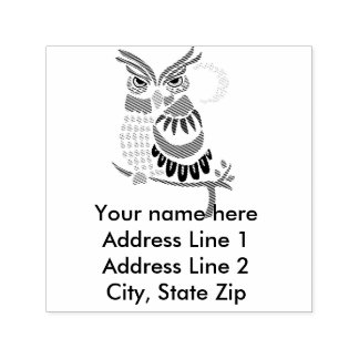 Cool Owl Abstract Self Inking Address Stamp