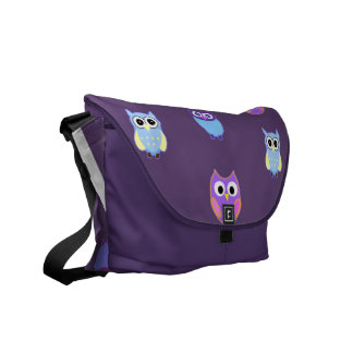 Cool Owl Art on Purple Messenger Bag