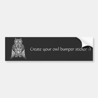 Cool Owl tribal style patterned illustration Bumper Sticker