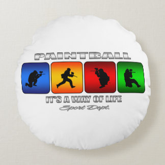 Cool Paintball It Is A Way Of Life Round Pillow