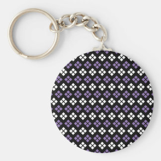 Cool Pale Purple & White Argyle Pattern on Black Basic Round Button Keychain