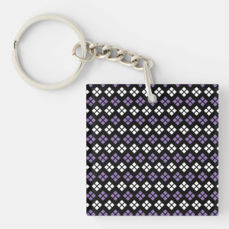 Cool Pale Purple & White Argyle Pattern on Black Double-Sided Square Acrylic Keychain