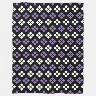 Cool Pale Purple & White Argyle Pattern on Black Fleece Blanket