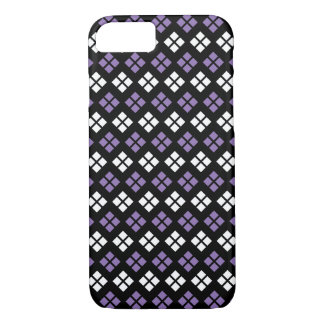 Cool Pale Purple & White Argyle Pattern on Black iPhone 8/7 Case