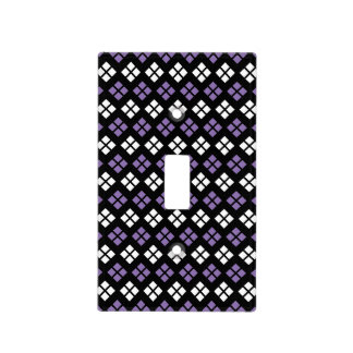 Cool Pale Purple & White Argyle Pattern on Black Light Switch Cover