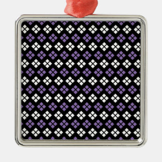 Cool Pale Purple & White Argyle Pattern on Black Metal Ornament