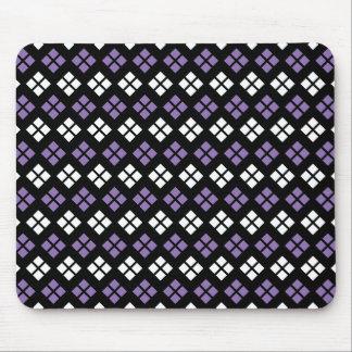 Cool Pale Purple & White Argyle Pattern on Black Mouse Pad