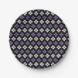 Cool Pale Purple & White Argyle Pattern on Black Paper Plate