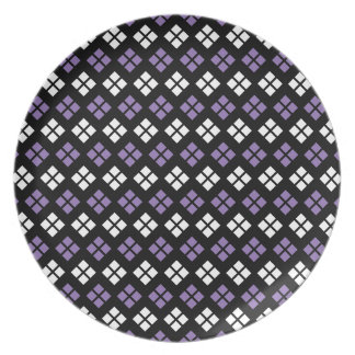 Cool Pale Purple & White Argyle Pattern on Black Plate