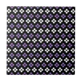 Cool Pale Purple & White Argyle Pattern on Black Tile