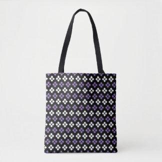 Cool Pale Purple & White Argyle Pattern on Black Tote Bag